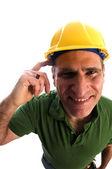 Técnico de contratante com cinto de ferramentas e martelo — Foto Stock