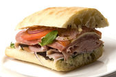 Gourmet italina salami prosciutto sandwich — Stock Photo