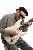 Homem de meia idade jogando músico de guitarra — Foto Stock