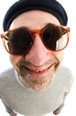 Aging artist thinking distorted nose close up beret hat — Stock Photo