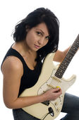 Sexy woman playing guitar — Stock Photo