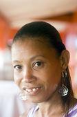 Tête de femme native nicaragua tourné portrait écart-dents — Photo