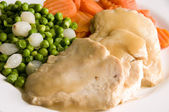 Sliced white meat chicken dinner — Stock Photo