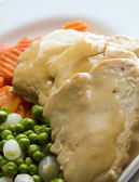 Sliced white meat chicken dinner and vegetables — Stock Photo
