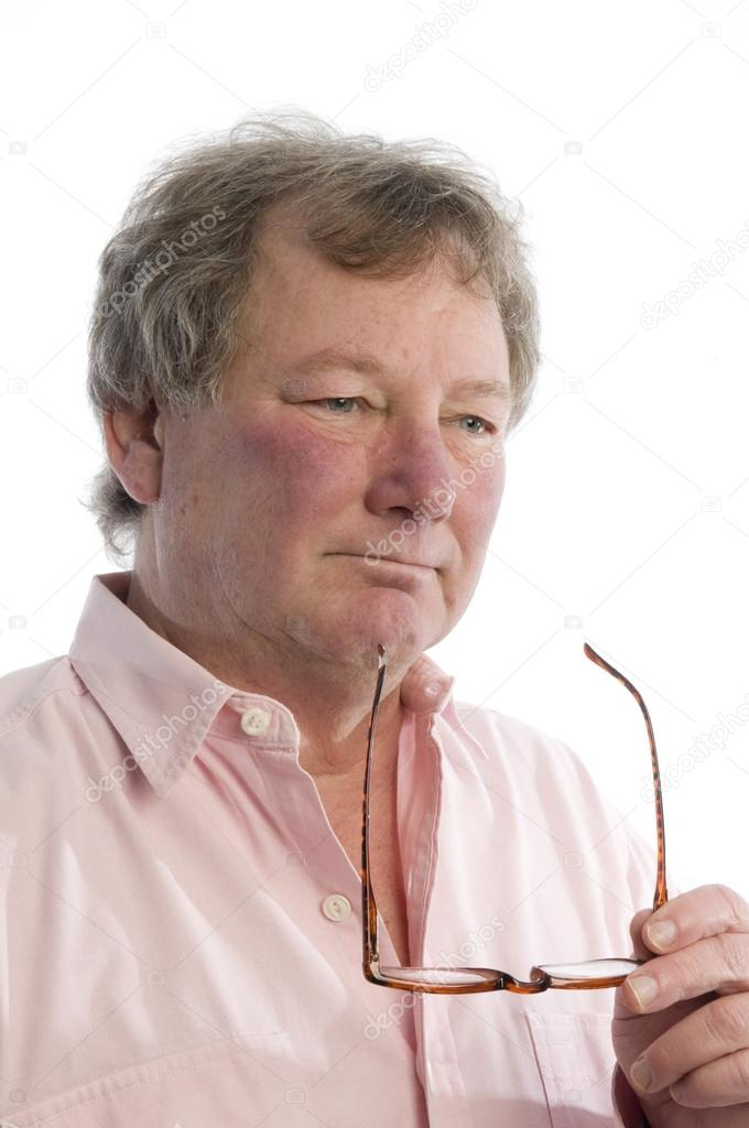 Middle aged man in thought handsome good looking senior inquisitive look — Stock Photo #13418512