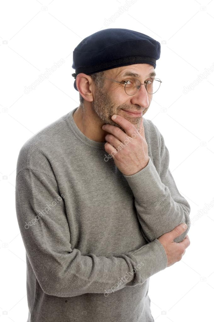 Middle age senior man thinking wearing artist french hippie beret hat — Stock Photo #13419113