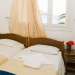 Greek Island guest house room interior sea view window — Stock Photo