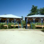 Hotel cabanas beach hammocks Corn Island Nicaragua — Stock Photo