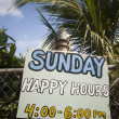 Happy hour sign corn island nicaragua — Stock Photo