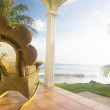 Rocking chair on patio resort big corn island caribbean nicaragu — Foto Stock