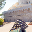 Cannon and cannonballs at The Prince's Palace of Monaco in Monte Carlo — Stock Photo