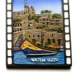 Stock Photo: Maltese luzzu boat souvenir magnet