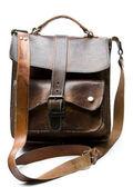 Velho saco de couro desgastado — Foto Stock