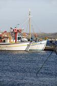 Fishing boats in harbor Adamas Milos Cyclades Greek island Greece — Stock Photo