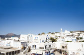 Panorama view of capital buildings church Adamas Milos Cyclades Greek Island — Foto de Stock