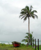 Starych rybackich łodzi nad morzem nikaragui — Zdjęcie stockowe