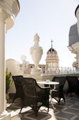 Rooftop cafe Gran Via cathedral view Madrid Spain — Stock Photo