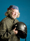 Motorcycle rider with helmet American flag bandana — Stockfoto