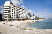 Tipik mimari yüksek doğmak beach palm ağaçlar san andres ada kolombiya güney amerika — Stok fotoğraf
