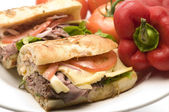 Gourment roast beef sandwich — Stock Photo