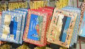 Souvenirs on display rack Istanbul Turkey — Stock Photo