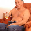 Stock Photo: Happy beer drinker