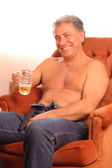 Happy beer drinker — Stock Photo