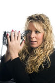Woman using video camera — Foto Stock