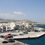 Port harbor town parikia paros cyclades islands — Stock Photo