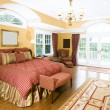Stock Photo: Large master bedroom with window light