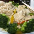 Stock Photo: Vietnamese food spicy chicken white meat steamed broccoli