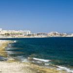 Limestone coastline view of st. julians malta — Stock Photo