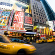 Stock Photo: Times square new york taxi movement