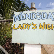 Ladies night sign corn island nicaragua — Stock Photo