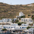 Port harbor ios greek island aegean mediterranean sea greece — Stock Photo
