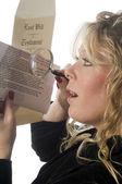 Woman inspecting document — Stock Photo