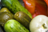 Pickle bowl macro new york deli — Stock Photo