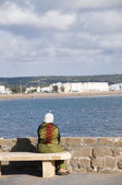 Muslim woman view of essaouira morocco — Stock Photo