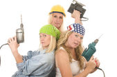 Sexy team contractor construction ladies with tools — Stock Photo