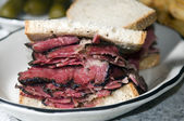 Pastrami sandwich rye bread — Stock Photo