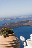 View of volcanic islands of santorini greece — Stock Photo