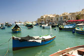 Marsaxlokk ancient fishing boat village malta mediterranean — Stock Photo