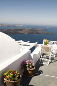 Incredilbe santorini greek island view of volcano and aegean sea — Stock Photo