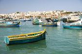 Luzzu barche porto di marsaxlokk malta — Foto Stock