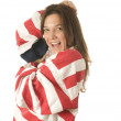 Stock Photo: Patriotic Americwomwith USflag