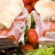 Gourmet italian combo sandwich ciabatta bread - Stock Photo