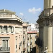 Rooftop architecture Gothic La Rambla district Barcelona Spain - Foto de Stock