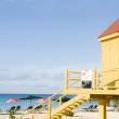Colorful lifeguard station Dover Beach Barbados St. Lawrence Gap — Stock Photo #23056708