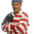 Patriotic American man wearing flag shirt with national flag — Stock Photo