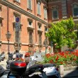 Motor scooters in street Brera Milan Italy — Stock Photo